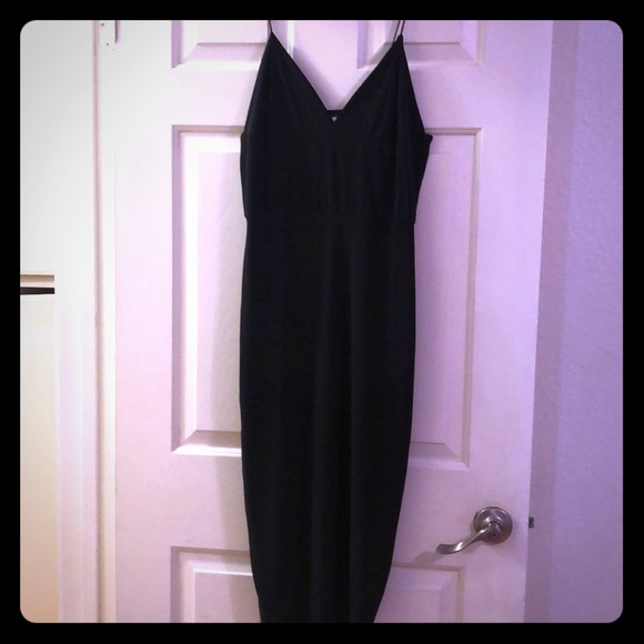 Missguided Dresses & Skirts - Long black slinky thin strap stretch midi dress
